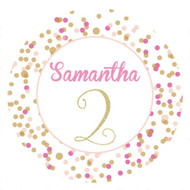 Pink & Gold Confetti Birthday Party Personalised Stickers & Labels