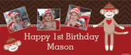 Sock Monkey Personalised Birthday Party Banner