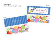 Space Rocket Personalised Party Favour Lolly Bags.