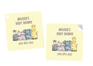 Baby Safari Animals Square Personalised Stickers, Labels and Tags.