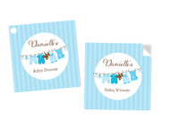 Blue Baby Clothesline Square Personalised Stickers, Labels and Tags.