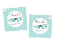 Green Baby Clothesline Square Personalised Stickers, Labels and Tags.