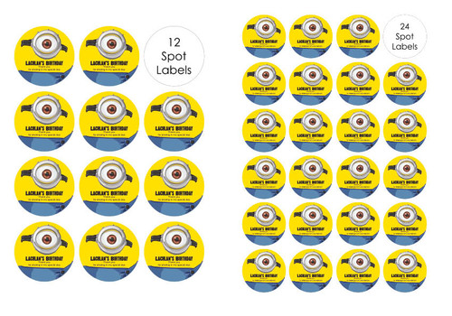 Yellow Minion Inspired Personalised Party Spots Labels and Stickers.