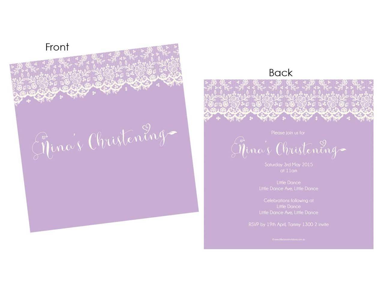 christening invitations lace