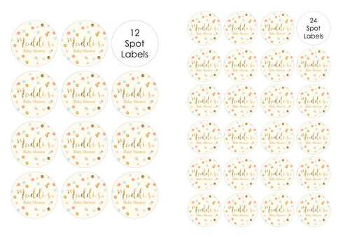 Gold glitter, mint and peach confetti baby shower labels