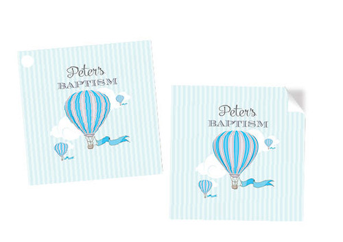 Blue Hot Air Balloon Square Stickers and Labels