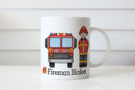 Personalised Fireman Firetruck Kids Name Mug