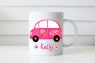 Hot Pink Love Bug Custom Personalised Name Coffee Mug