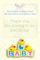 Personalised baby shower invitations - Almost due theme. Sale online
