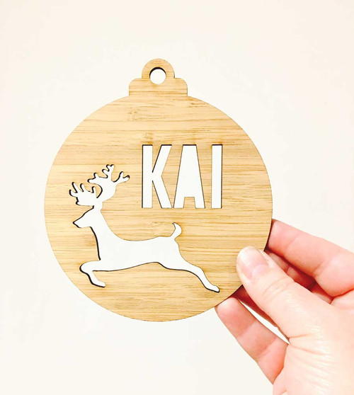 Personalised Bamboo Christmas Decoration