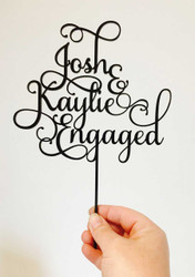 Custom Names Engaged Script Cake Topper