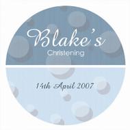 Personalised baptism or christening labels - blue spots theme. Australian online shop