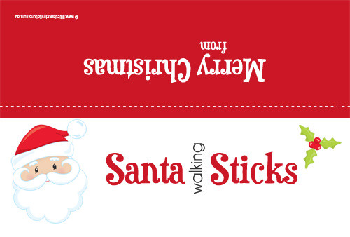 Santa sticks party bag toppers. Novelty Christmas favor bag toppers