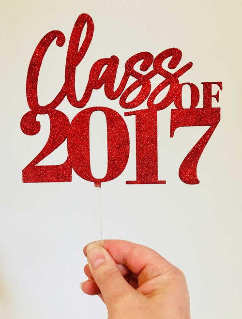 Class of 2017 Cake Topper in Red Glitter