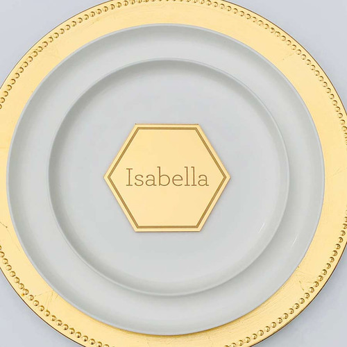 Engraved Lasercut gold mirror table setting name cards / placecards / escort cards