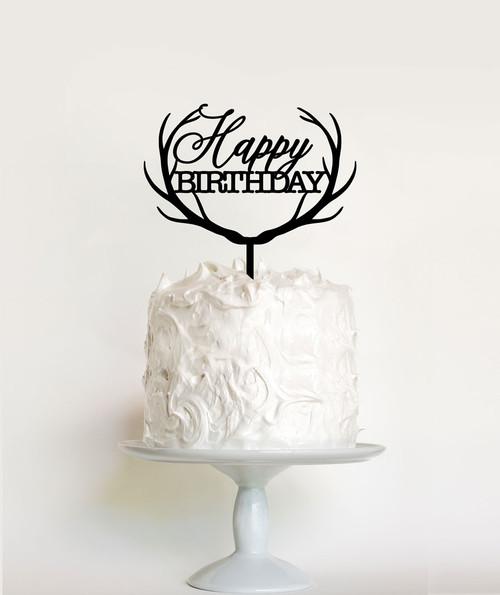 Reindeer Antlers Happy Birthday Cake Topper