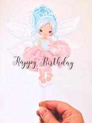 Blue Hair Fairy printed acrylic cake topper
