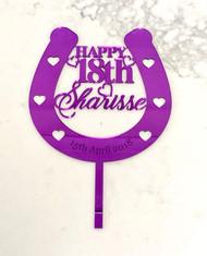 Custom horse shose birthday cake topper