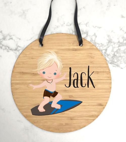Kids bedroom surfer themed door sign