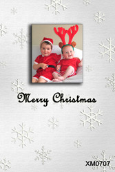 White background snowflake themed photocard