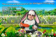 Personalised photo invitations - garden bunny costume theme