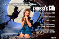 Twilight or witch themed girls party photo invitation