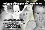 Ghost themed Halloween party invitation made using a photo.