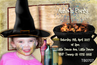 Witch themed kids birthday party invitation