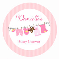 Personalized & custom baby shower party Labels & Stickers - pink clothesline theme. For sale in Australia - order online