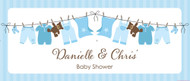 Personalized baby shower banner - blue baby clothes theme - printed online