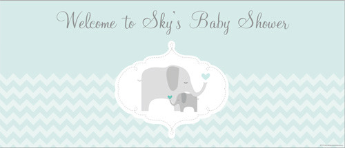 Custom baby shower banner - mint green elephant clothes theme - for sale online