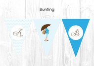 Blue Mom to Be Baby Shower Party Personalised Bunting Flag Decorations