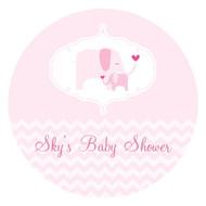 Pink Elephant Baby Shower Personalised Cake Icing