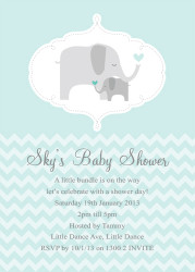 Green Baby Elephant Baby Shower Invitations