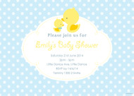 Little Duck Blue Baby Shower Invitations