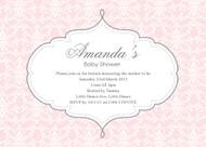 Pink Damask Baby Shower Invitations