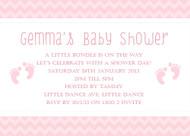 Pink Footprints Baby Shower Invitations