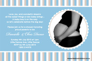 Blue Stripe Baby Shower Invitations