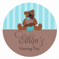 Personalised baptism or christening labels - teddy bear theme. For sale online - order online