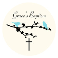 Personalised baptism or christening labels - two blue birds theme. For sale online - order online