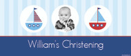 Personalized wide format christening banner with photo. Nautical theme. For sale online